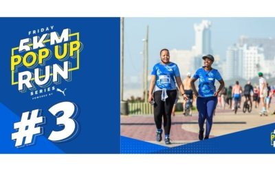Runners prepare for a 'blue themed' Friday 5K Pop Up Run #3 powered by PUMA